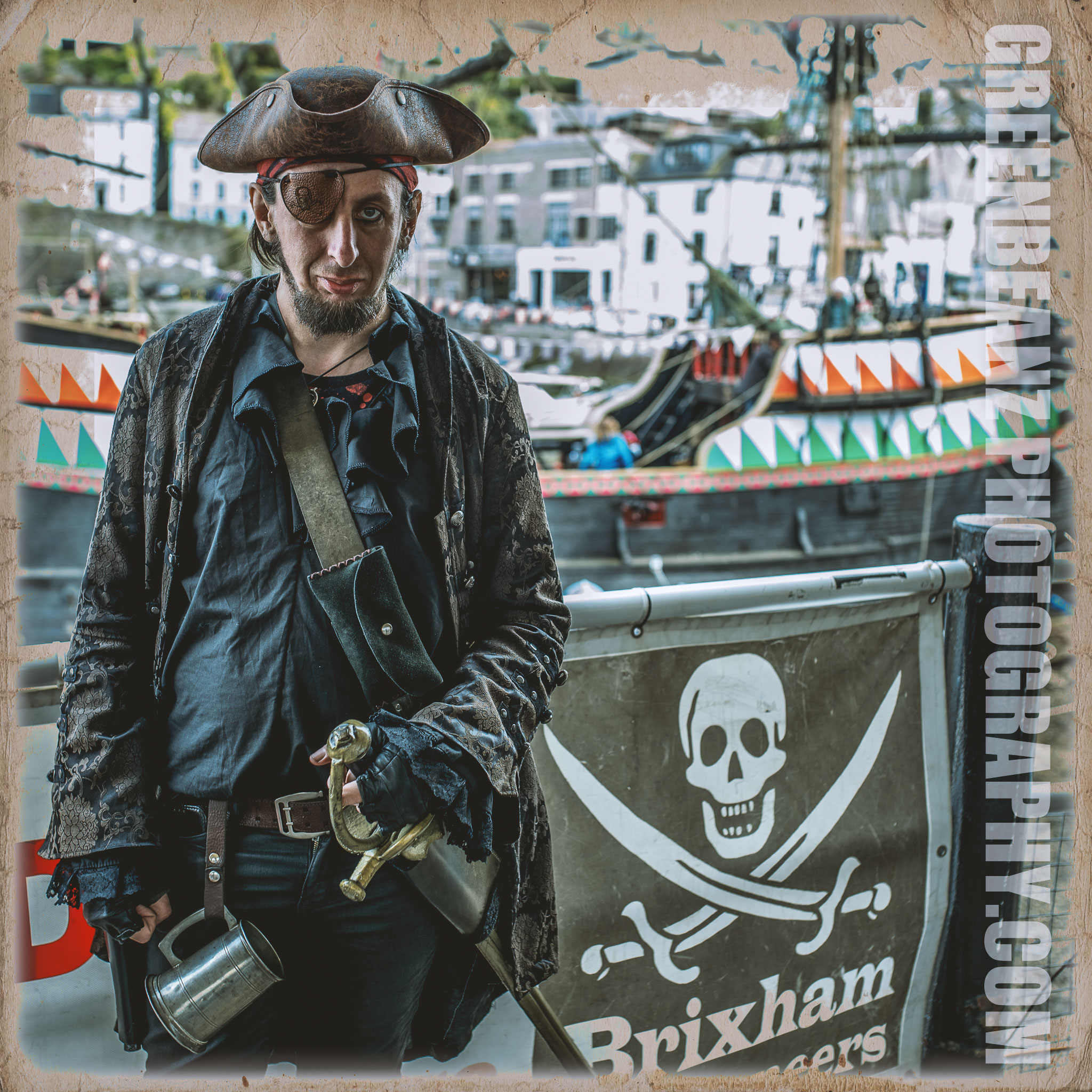 Actor Rich Sanford at Brixham's Annual Pirate Festival in May 2019