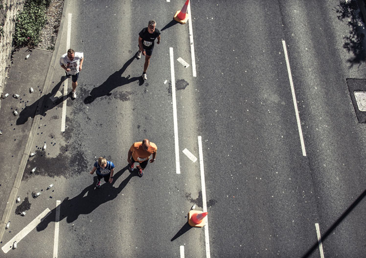 Looking down on Marathon Runners