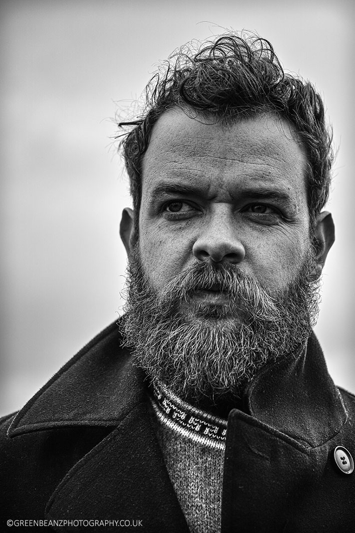 Plymouth portrait photographers black and white portrait of bearded man on dartmoor devon